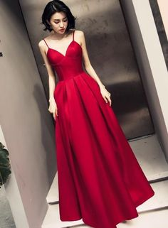 Red Straps Beautiful Satin Prom Dress , Red Party Gowns
