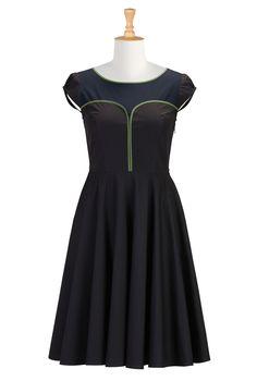 Piped Trim Cotton Poplin Dresses, Colorblock Cotton Dresses For Plus Size Shop womens designer clothes - Shirtdresses - Shop for shirtdresses | eShakti.com
