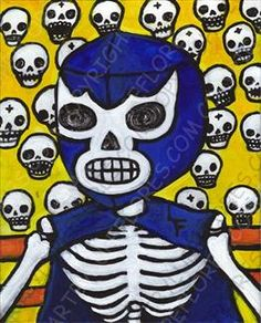 "Lupe Flores, ""Blue Demon"" 8 x 10 in. Print at Arte y Loquras"
