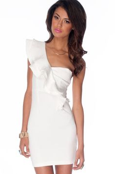 Posh Collar Dress in Off White :: tobi