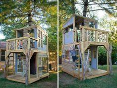 modernes-baumhaus-selber-bauen- kinder spielt - Baumhaus bauen – schaffen Sie einen Ort zum Spielen für Ihre Kinder!