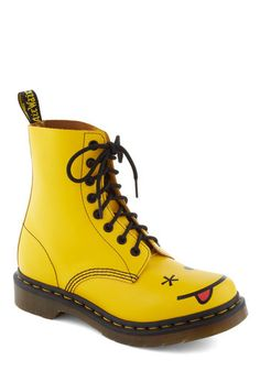 What Shoe Lookin At? Boot by Dr. Martens - Yellow, Lace Up, Low, Leather… Leather Lace Up Boots, Lace Up Booties, Leather Booties, Laced Boots, Ankle Booties, Dr. Martens, Crazy Shoes, Me Too Shoes, Style