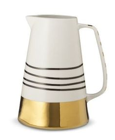 ***Gold striped stoneware pitcher from the Oh Joy! for Target collection.