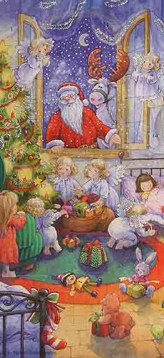 Advent calendar from Germany Santa looking through window at angel children