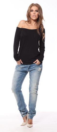 Bluza neagra casual cu maneca lunga #bluzedama #pretttymodaro #moda