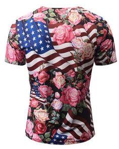 American flag t shirt for men rose flower V neck tshirts 94e07399aab3