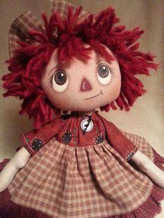 Handmade Primitive Raggedy Ann Annie Doll Prim Sunflowers Print Cotton Dress: