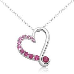 """10k White Gold Round Created Pink Sapphire and Created Ruby Heart Pendant, 18"""" $153"""