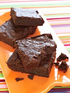 Low-Calorie Dessert: Big Fudgy Bittersweet Brownies. Made with Nonfat Yogurt and Whole Wheat Flour