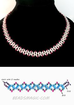 Free pattern for necklace Sugared Cranberries twin seed beads seed beads 8/0 seed beads 11/0