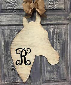 Love this Cream Initial Horse Head Door Hanger on #zulily! #zulilyfinds