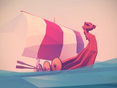 Low Poly Viking Boat by Jona Dinges