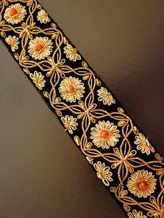 Vintage Wire Embroidered Belt Black Velvet Gold by JeepersKeepers