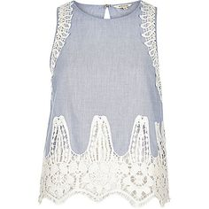Blue chambray lace sleeveless tank top - tank tops - tops - women