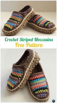 b0b1f98e3e8 Crochet Striped Moccasins Free Pattern -  Crochet Women  Slippers Free  Patterns Free Crochet Slipper