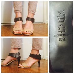 """Tibi Baxter Mid Heel Sandals Size 36.5 (6.5) Tonal straps add a texture to leather Tibi sandals. Velcro ankle strap. Padded footbed and leather sole. Online, sold out at 444 online retailers. Size 36.5, US 6.5, fits true to size. Worn once to a wedding, very comfortable throughout the day. Normal wear as a result on sole and heel backs, as shown. Versatile shoes can be worn at any occasion Heel Height measures in at 2.75"""" Tibi Shoes Heels"""