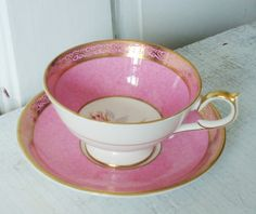 Vintage Bubble Gum Pink Tea Cup and Saucer by SwirlingOrange11