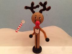 Rollicking Rudolph Clothespin   $10
