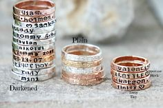 Hand Stamped Stacking Rings - Personalized Gold, silver, pink gold hammered rings - kids name rings - organic rings - hand stamped rings by galwaydesigns on Etsy https://www.etsy.com/listing/202637826/hand-stamped-stacking-rings-personalized