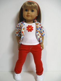 American Girl Doll Clothes Spring Garden Red by 123MULBERRYSTREET, $29.00