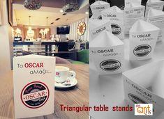 Διαφημιστικό χάρτινο stand για τραπέζι ή bar με 3 πλευρές. Ένας τρόπος για να προβάλετε γρήγορα και αποτελεσματικά μία εκδήλωση , ένα προϊόν , μία προσφορά ή & ένα  menu. Δυνατότητα κατασκευής σε διάφορα χαρτιά-μεγέθη και σχήματα. Graphic Design, Table, Tables, Desk, Tabletop, Visual Communication, Desks