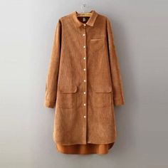 2016 Spring Autumn New Arrivals Women Long Blouse Solid Loose Corduroy Long Sleeve All Match Shirt Dress(China (Mainland)) Mode Mantel, Camisa Formal, Khaki Dress, Blouse Dress, Casual Tops, Shirt Blouses, Corduroy, Blouses For Women, Long Sleeve Shirts