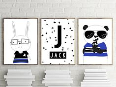 Set of 3 Monochrome Nursery Prints. Kids Wall Art Decor Prints. - HIPSTER BUNNY - NAME (PERSONALISED) - HIPSTER BEAR HOW TO ORDER - Please leave a not of the name for your Teepee print at checkout in messages to seller. We will send a proof copy for approval to your email address
