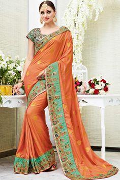 Orange Designer Wedding Wear Saree With Heavy Lace Border Patang Catalog 3904