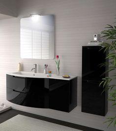 """Modern Bathroom Black Vanity Set ... floating furniture. clean lines ... needs 2 sinks. """"His and hers"""""""