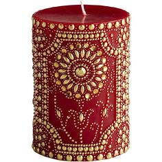 Pier 1 Imports Red & Gold Flower Pillar - 3x4 (11 BAM) ❤ liked on Polyvore featuring home, home decor, candles & candleholders, candles, fillers, decor, furniture, flower home decor, gold candles and column candles