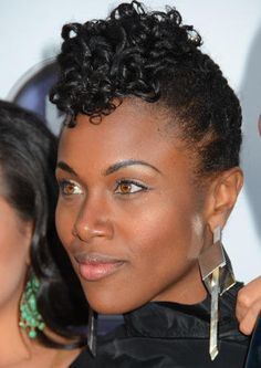 Two Strand Up-do. This style is super simple, just medium twists, pull & pin towards the top of the head & curl hair left out using flexi-rods. Natural hair styles for black women.