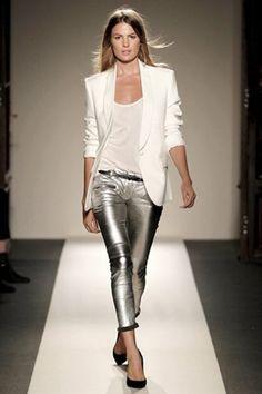 White boyfriend blazer silver pants
