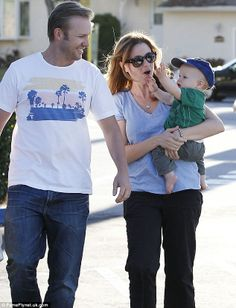Jenna Fischer, husband Lee Kirk and little Weston, pictured here when he was just a year old