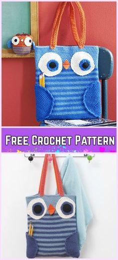 Crochet Book Bag Free Patterns - Crochet Owl Book Bag & Apple Cozy Free Pattern