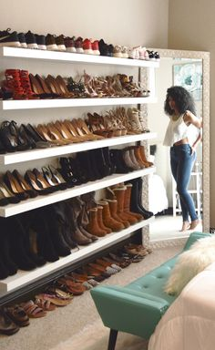 Shoe Wall Heaven: How to Build Yours White Collar Glam, mixed girl, natural curls, curly hair, wash Closet Shoe Storage, Bedroom Storage, Shoe Closet Organization, Ikea Closet, Diy Shoe Organizer, Closet Wall, Organizar Closet, Shoe Wall, Shoe Room