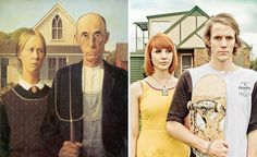 """American Gothic,"" modernized to ""Portlandia"" □ 20 Modern Remakes Of Famous Paintings 