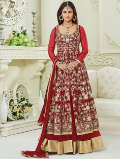 Fetching red mulberry silk party wear anarkali suit. Having fabric mulberry silk, net, santoon and nazneen. The embroidery work, resham embroidery work, zari work, stone work, cording work and zari border seems chic and great for any party. Comes with matching bottom and dupatta #mydesiwear #AnarkaliSuits #SIlkSuits #SalwarSuits #OnlineShopping #FloorLengthAnarkali #PunjabiSuits #PartyWearSalwarSuits #AnarkaliSalwarKameez #BuyWeddingSuits #WeddingTrendz #StyleWedding