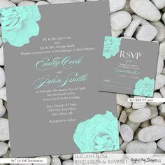 teal inspired wedding colors invite