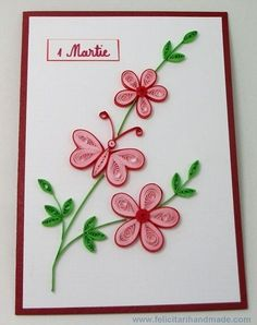 Greeting card quilling flower and butterfly - Quilling Paper Crafts Quilling Birthday Cards, Paper Quilling Cards, Arte Quilling, Paper Quilling Tutorial, Paper Quilling Flowers, Paper Quilling Patterns, Origami And Quilling, Quilled Paper Art, Quilling Craft