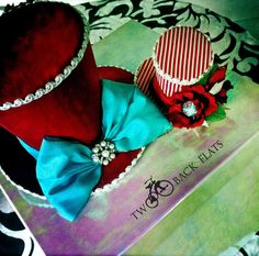 Holiday top hat SET Circus Ringmaster costume prop by TwoBackFlats, $104.00 fascinator hair accessory see more quirky fashions on grimm and fairy,alice and frida boards