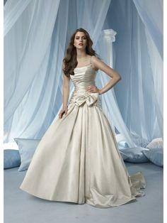 Satin Spaghetti Strap Ruffled Bodice A-line Wedding Dress