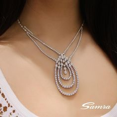 An exquisite necklace with brilliant and pear cut diamonds #SamraJewellery