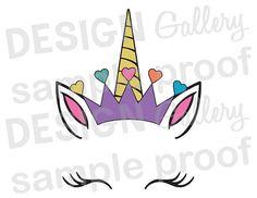 Archivo, impresión Digital, flores, pestañas - Descargar Instant de cortadas de unicornio cara - JPG, png y SVG, DXF