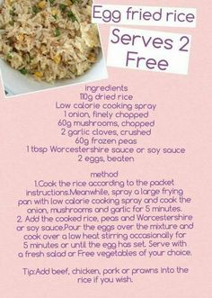 Image may contain: text and food Slimming World Cake, Slimming World Tips, Slimming World Dinners, Slimming World Recipes Syn Free, Easy Cooking, Cooking Recipes, Rice Recipes, Lunch Recipes, Slimming World Fakeaway