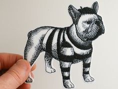Iron on patch, embroidered patch, French bulldog iron on patch, patch for jeans, patch for backpack, grey tones on white, dog patch. by JaneAtNumber13 on Etsy