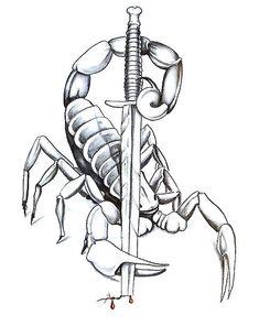 Escorpion Tattoo, Knife Tattoo, Sword Tattoo, Dagger Tattoo, Body Art Tattoos, Tattoo Drawings, Scorpio Zodiac Tattoos, Scorpio Art, Espada Tattoo