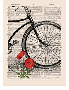 Vintage bicycle wall art print on dictionary or music page Red poppy Dictionary art print Bicycle art Wall decor Digital art Sheet music 234 – Personal Celebrations Arte Sharpie, Journal D'art, Journals, Music Poster, Diy Vintage, Newspaper Art, Newspaper Painting, Creation Art, Book Page Art