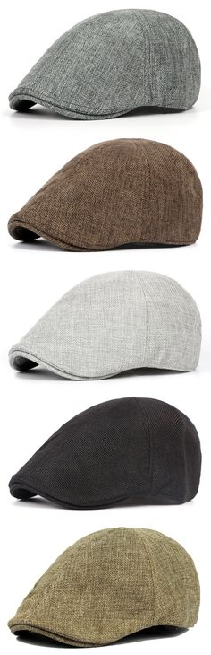 Mens Retro England Style Linen Solid Berets Hat Casual Unisex Visors Foward Hats Gorras