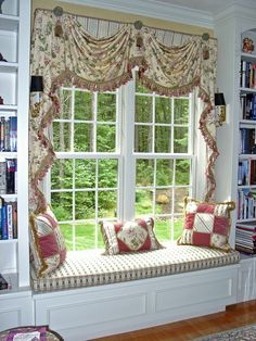 Gorgeous window seat love the window treatment for 18th century window treatments