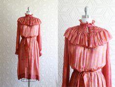 100 Silk 70s Boho Hippie Gypsy Ethnic Sheer Dress by Liyasvintage, $78.00